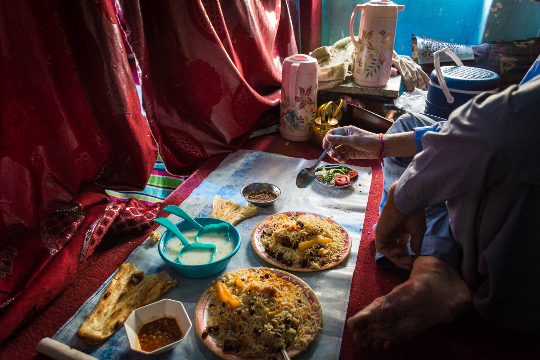 Lunchtime in a hidden women's area in a restaurant in Herat, Afghanistan - Lost With Purpose