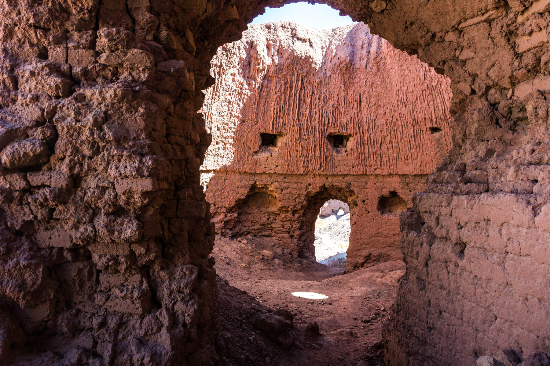 The red stone interior of the Shahr-e-Zohak citadel near Bamiyan, Afghanistan