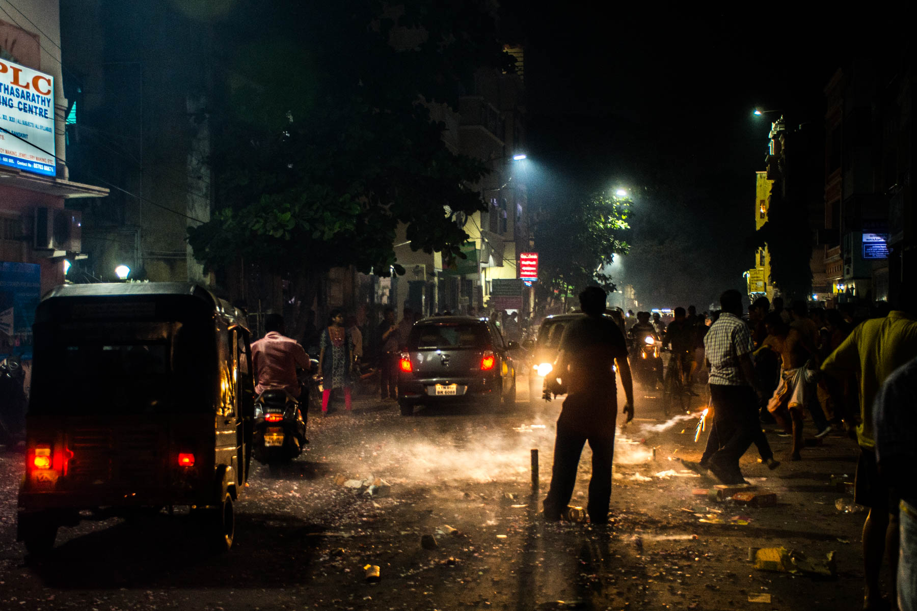 Night chaos on the road while celebrating Diwali in Chennai, India - Lost With Purpose