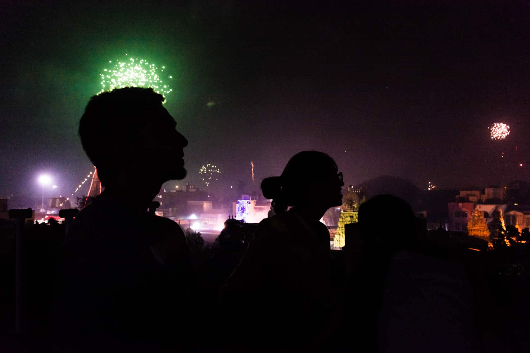Watching from the rooftop while celebrating Diwali in Chennai, India - Lost With Purpose