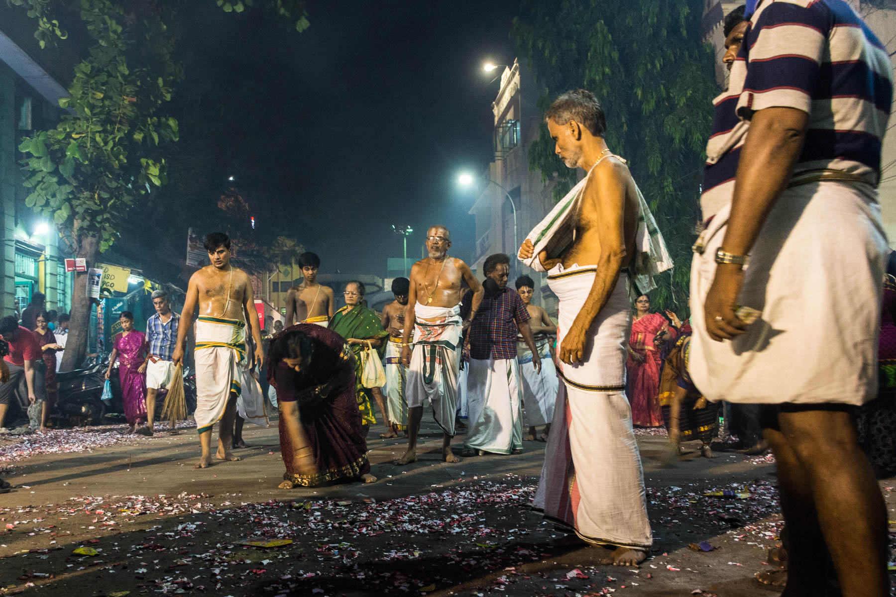 Women clearing the streets while celebrating Diwali in Chennai, India - Lost With Purpose