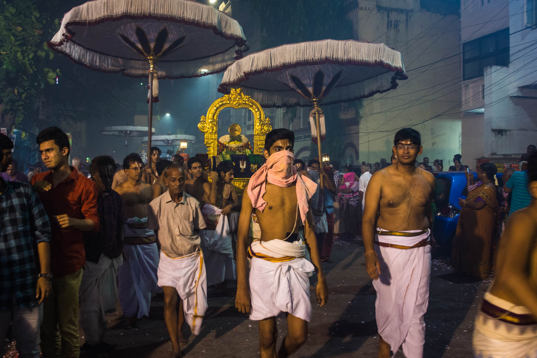 A priest with a wrapped face while celebrating Diwali in Chennai, India - Lost With Purpose