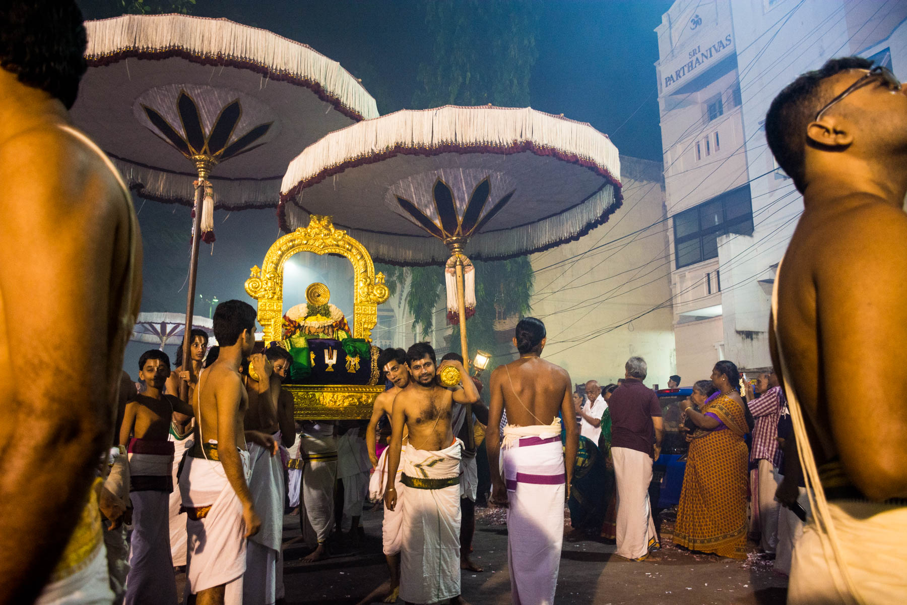 Men in dhoti leading the procession while celebrating Diwali in Chennai, India - Lost With Purpose