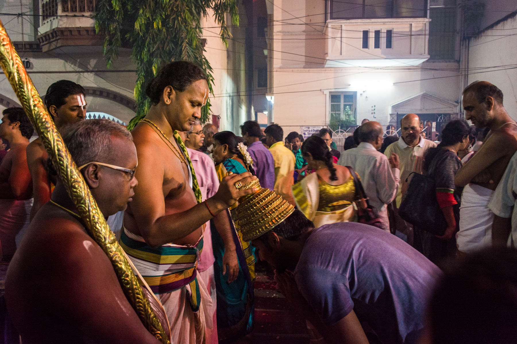 Receiving a blessing while celebrating Diwali in Chennai, India - Lost With Purpose