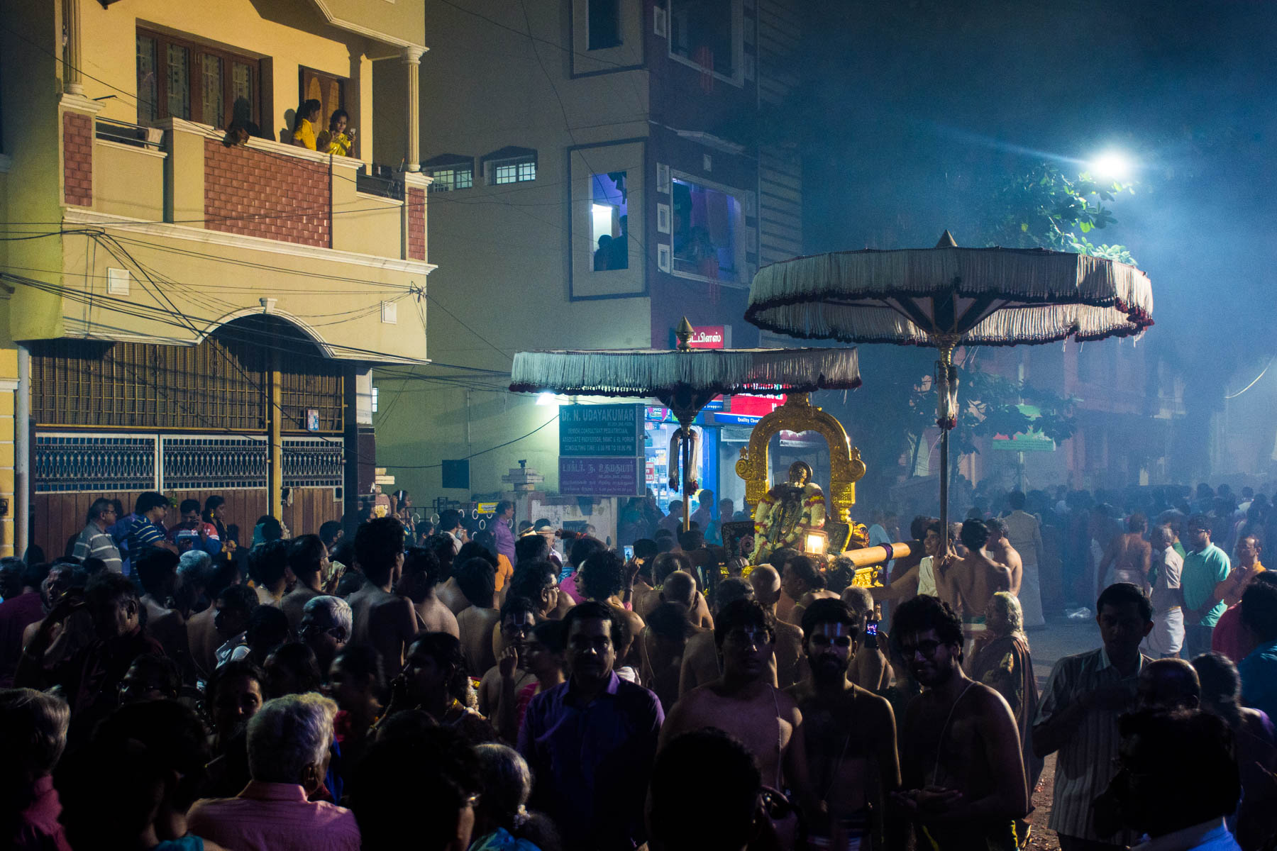Procession moving through the streets while celebrating Diwali in Chennai, India - Lost With Purpose