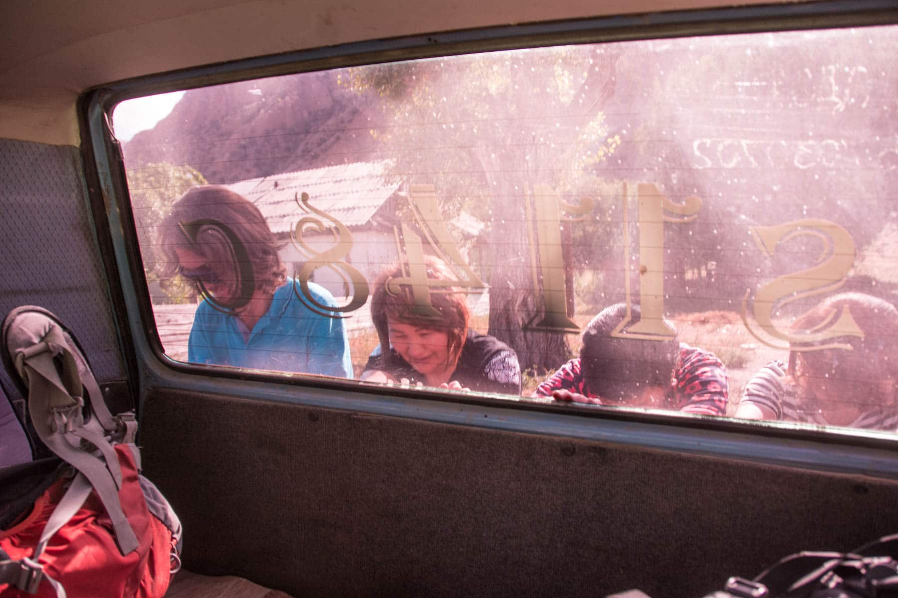 Pushing a broken down van on the way to Min Kush, Kyrgyzstan - Lost With Purpose