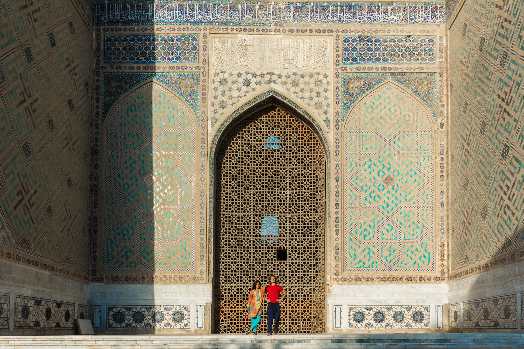 Enjoying sunrise at a mosque in Samarkand, Uzbekistan - Lost With Purpose