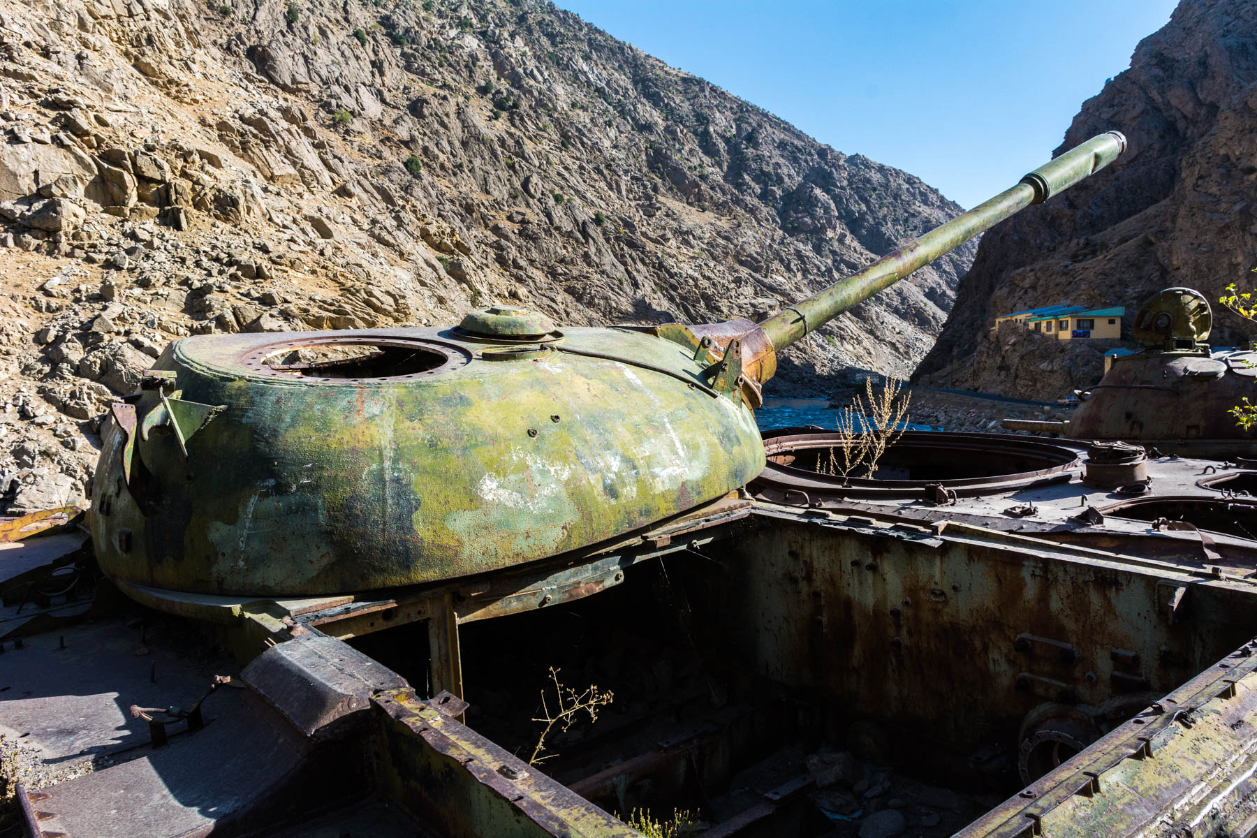 A destroyed tank in the Panjshir Valley in Afghanistan