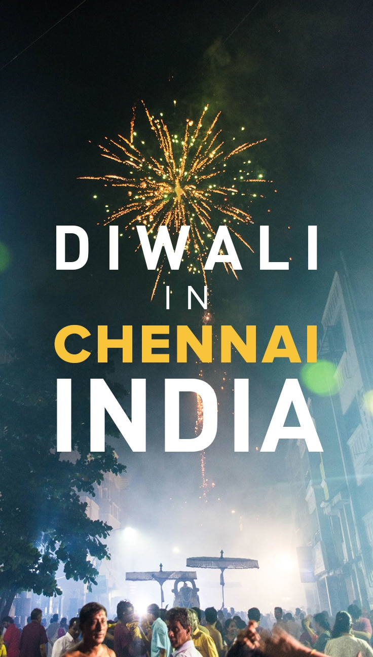 Celebrating Diwali in Chennai, India is a crazy experience. There are fireworks galore, the air is thick with smoke, and sometimes a god or two may make an appearance! It's a must-see for any traveler in India.