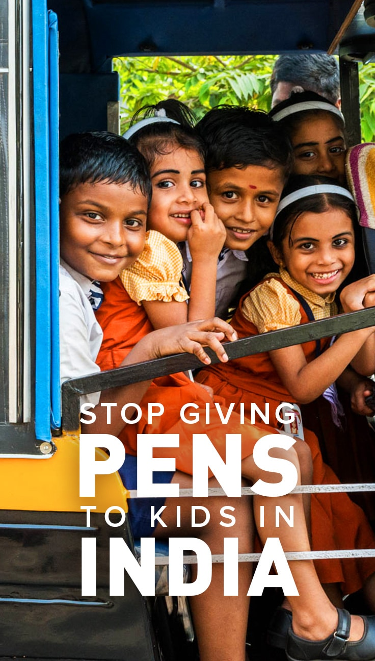 Though many foreign tourists don't realize it, giving pens to children in India is a big no no! Click through to learn why it's such a bad move, and find some alternative ways to give to children in India.