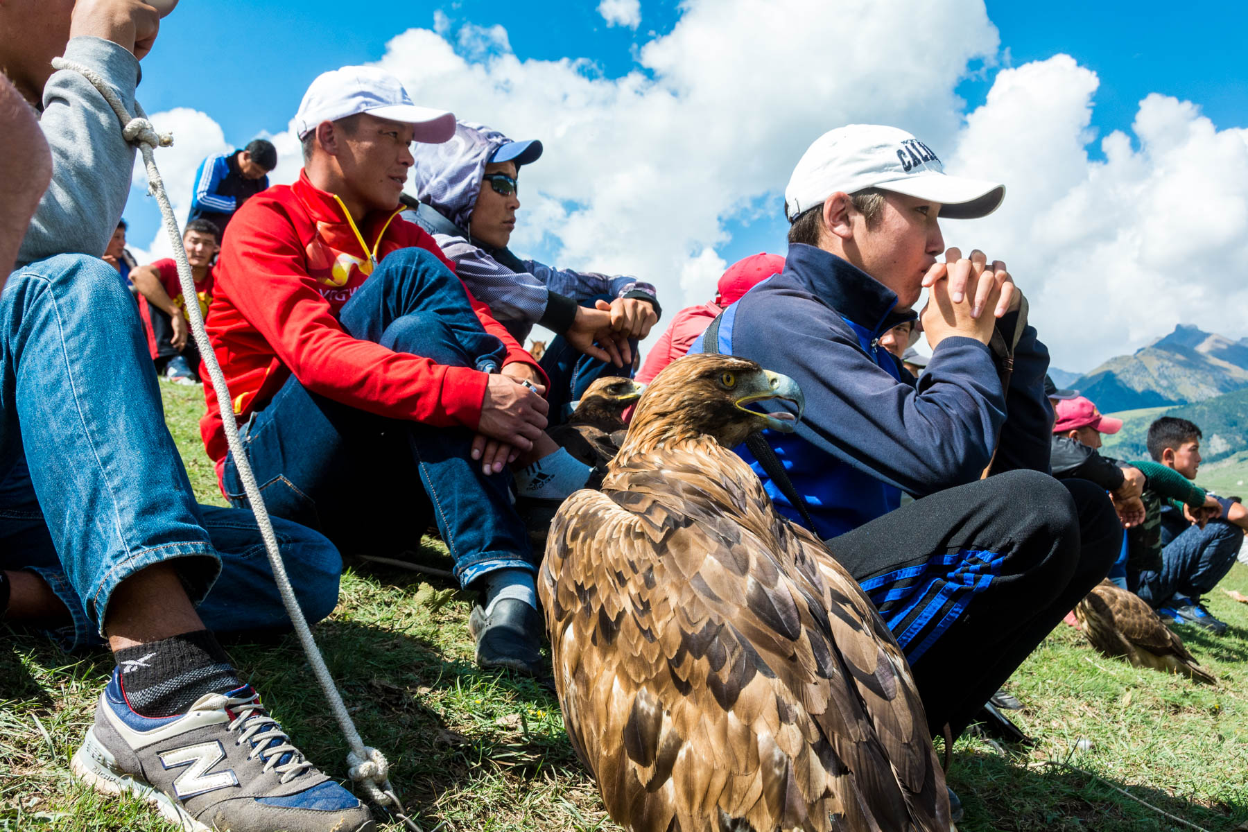 Spectators and eagles at the 2016 World Nomad Games