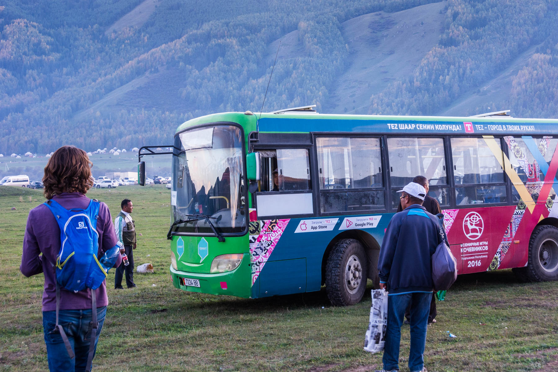 The free shuttle at the 2016 World Nomad Games in Kyrgyzstan - Are the 2018 World Nomad Games worth the trip? - Lost With Purpose
